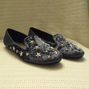 Women's Velvet Star Studded Navy Blue Flats